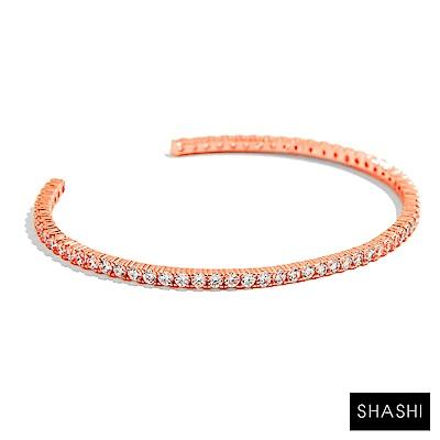 SHASHI Bianca Cuff 玫瑰金鑲鑽手環 亮面優雅圓弧 925純銀鑲18K