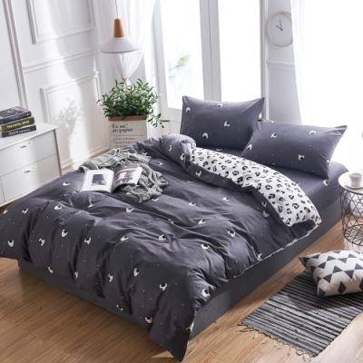 A-ONE 100%純棉-黑白E系列-雙人床包/枕套組-小飯糰