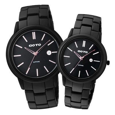 GOTO簡約時尚日期陶瓷對錶-黑(GC7109-33-341)-42mm/38mm