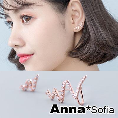 【3件5折】AnnaSofia 塗鴉線繪 不對稱925銀針耳針耳環(玫瑰金系)