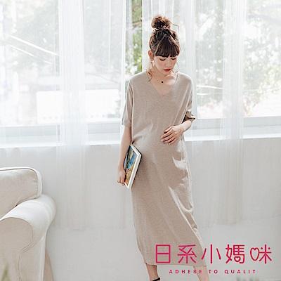 日系小媽咪孕婦裝-正韓孕婦裝 初秋修身V領薄針織短袖洋裝