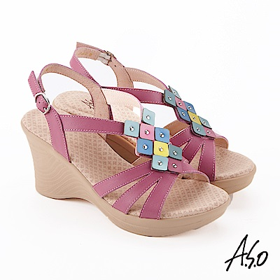 A.S.O 挺麗氣墊 撞色拼接全真皮奈米楔型涼鞋 桃粉