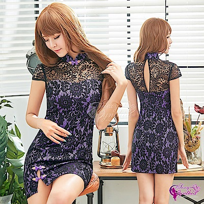 Sexy Cynthia角色扮演 復古紫黑撞色立領旗袍角色扮演服-紫F