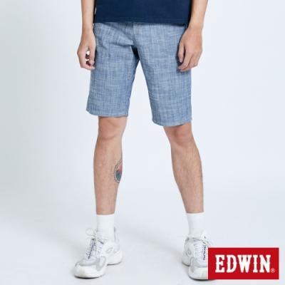 EDWIN 503 基本五袋棉質 休閒短褲-男-原藍色