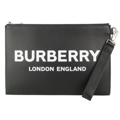 BURBERRY 滑面牛皮 PRINT 字母手掛大手拿包(黑)