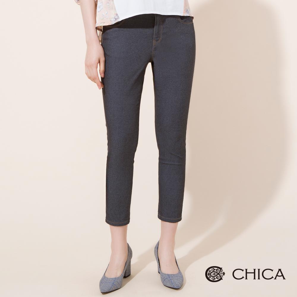 CHICA 顯瘦百搭舒適彈力七分牛仔褲(1色)