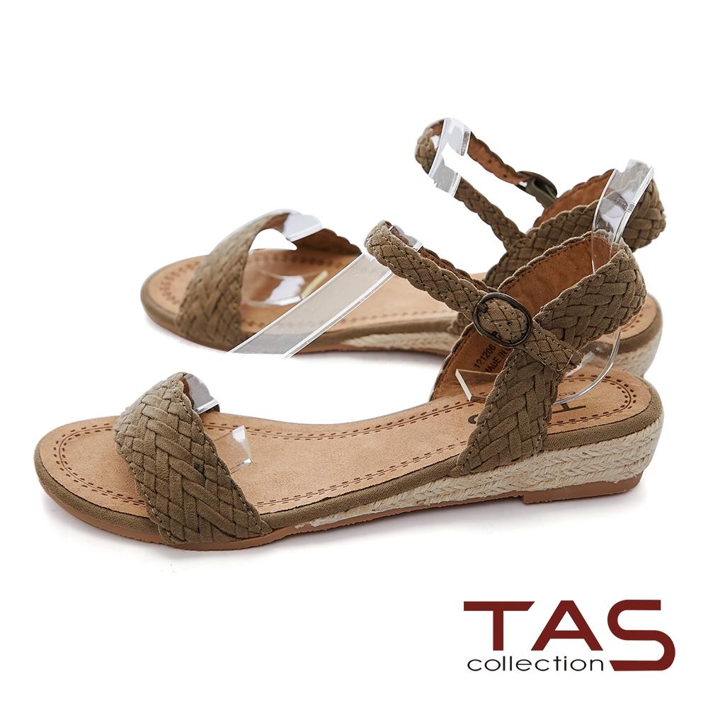 TAS一字進口絨布編織草編底台涼鞋-清晰綠