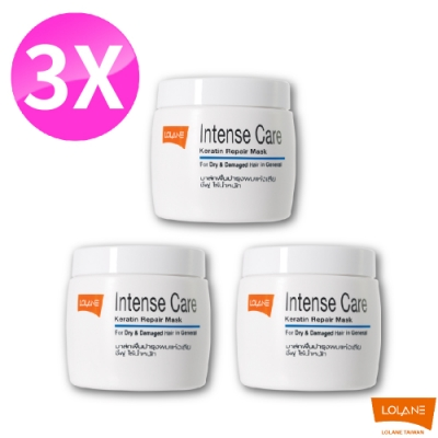 LOLANE蘿瀾 高效修護角蛋白髮膜- 乾燥及老化受損髮質200g 三入組