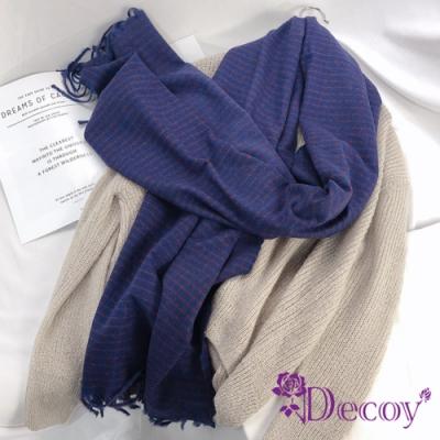 Decoy 學院小格紋 流蘇中性仿羊絨保暖圍巾 藍