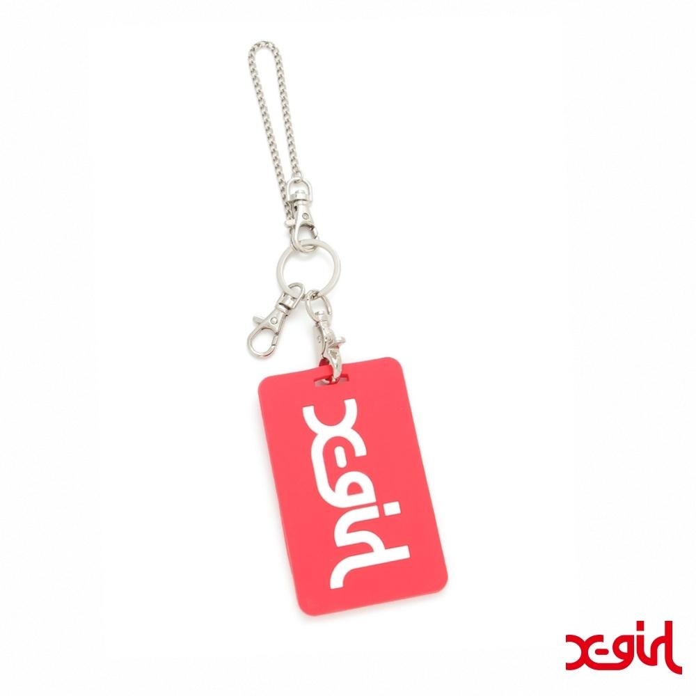 X-girl MILLS LOGO RUBBER PASS CASE卡片夾-紅