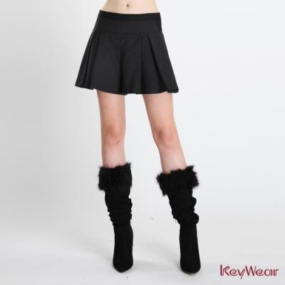 KeyWear奇威名品    拼接活力修身短褲-黑色