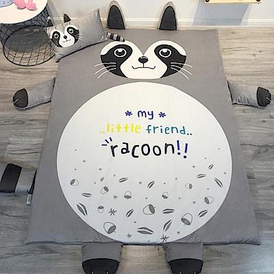 HUEI生活提案 水晶絨 可拆洗動物造型兒童床墊 浣熊