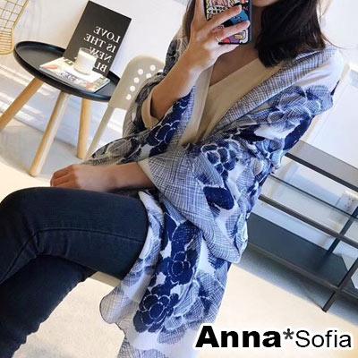 【滿688打75折】AnnaSofia 線塗花漾 亮緞面仿絲披肩絲巾圍巾(藏藍色)