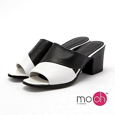 mo.oh - 全真皮-露趾粗跟一字涼拖鞋-黑白色