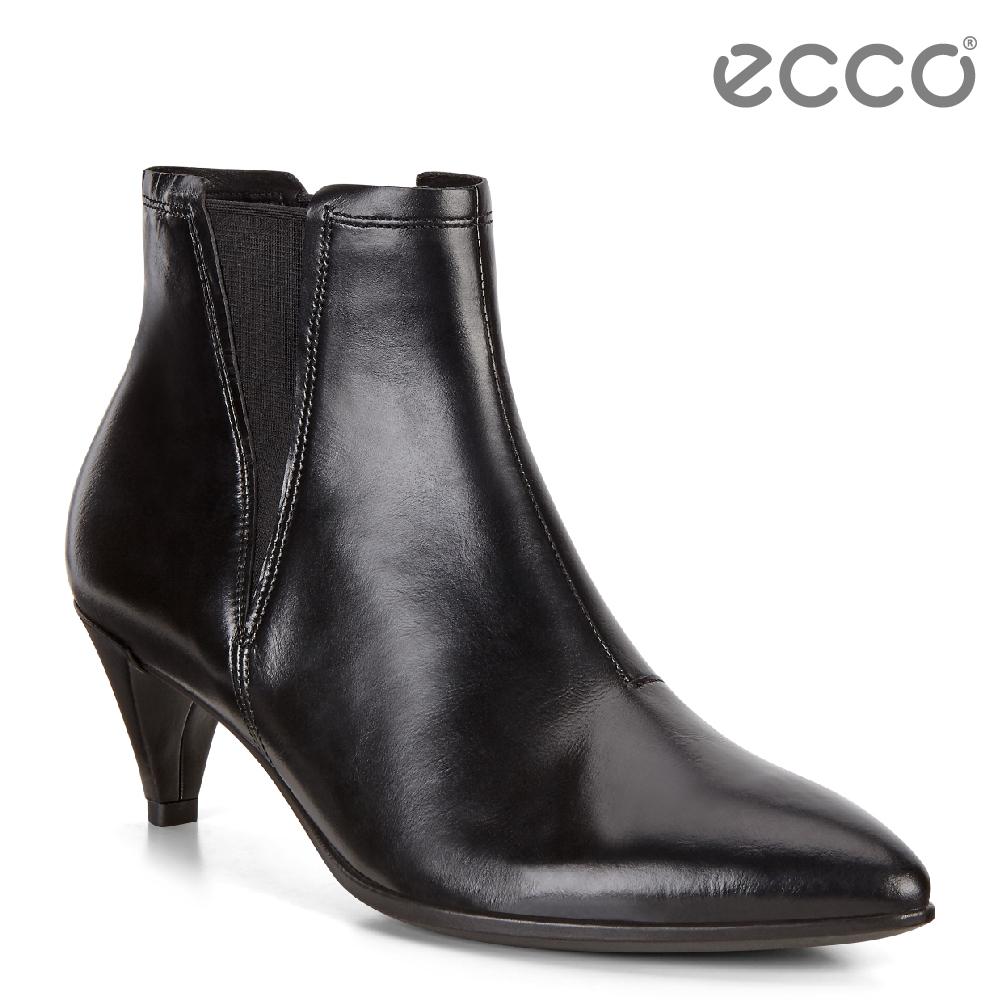 ECCO SHAPE 45 POINTY  率性尖頭小牛皮高跟短靴 女-黑