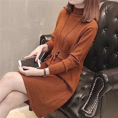 純色高領針織洋裝-共5色(F可選)    NUMI 森