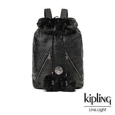 Kipling 搖滾高光亮黑壓紋抽繩束口後背包-FUNDAMENTAL