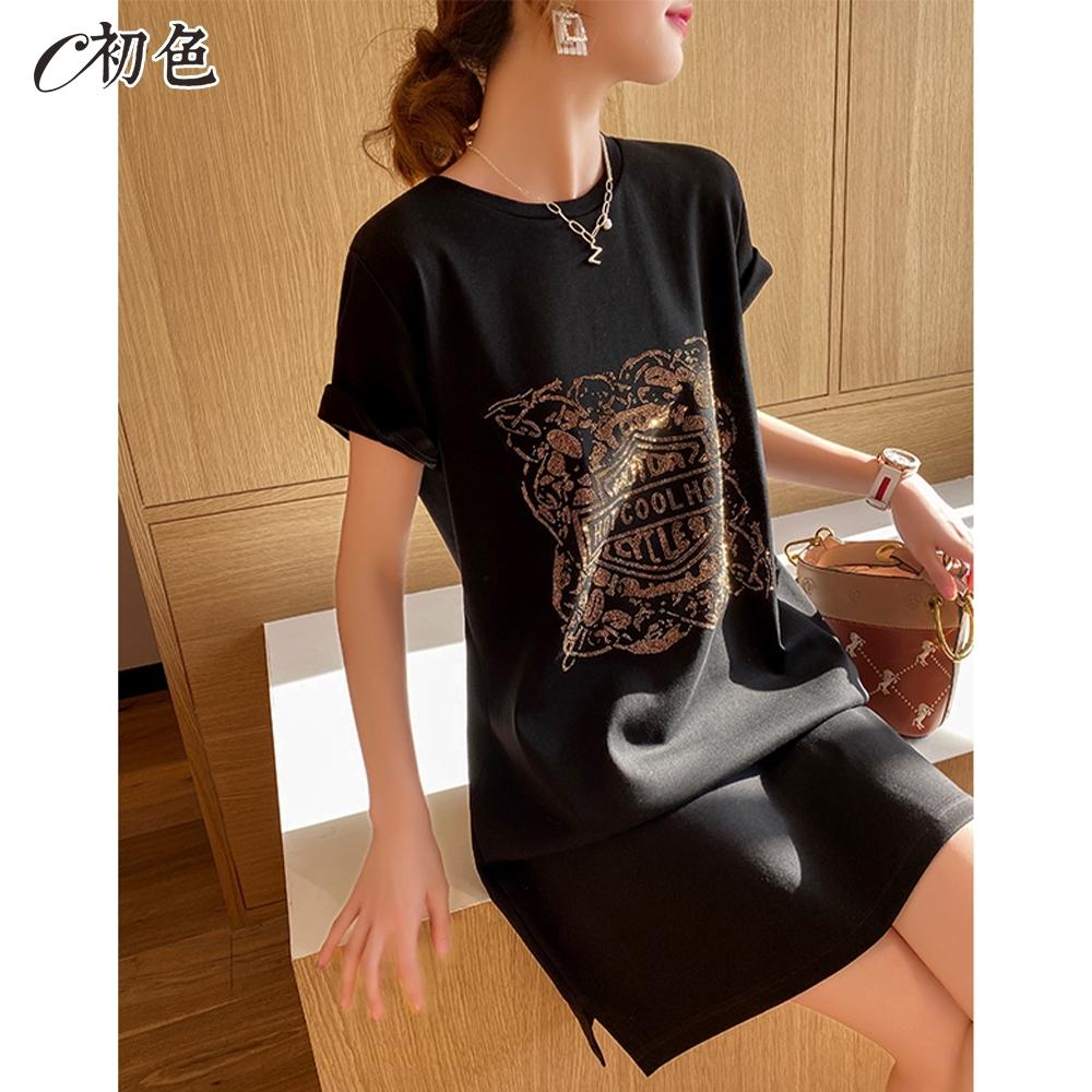 初色  圓領燙鑽休閒連身裙-黑色-(M-2XL可選)