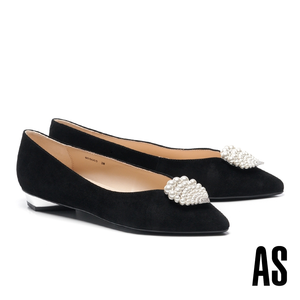 低跟鞋 AS 深海精靈珍珠貝殼鑽飾全羊皮尖頭低跟鞋-黑