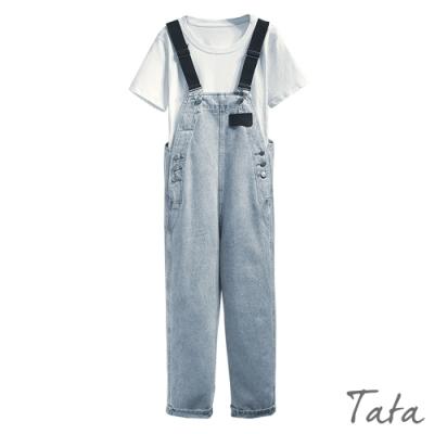 排扣黑吊帶牛仔褲 TATA-(S~XL)
