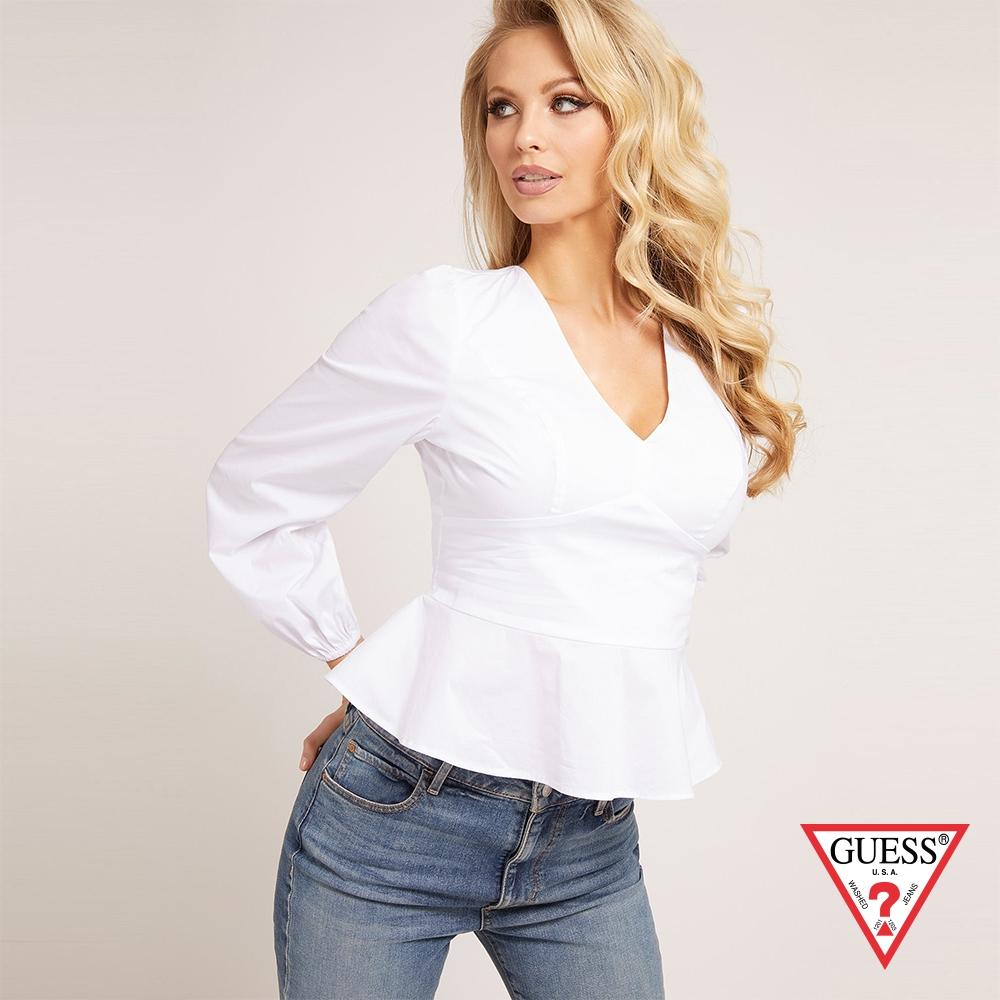 GUESS-女裝-V領修身襯衫-白 原價2490
