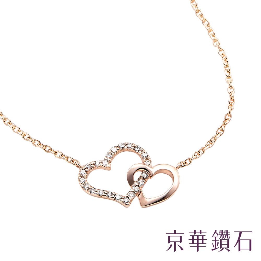 京華鑽石 雙心系列 0.08克拉 10K鑽石項鍊