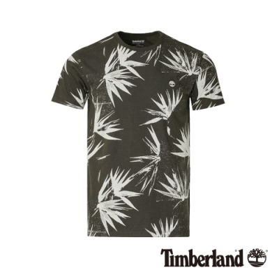 Timberland 男款泥炭色風格印花短袖圓領T恤 A1X5J