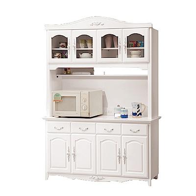 H&D 白色5.3尺碗盤櫃組