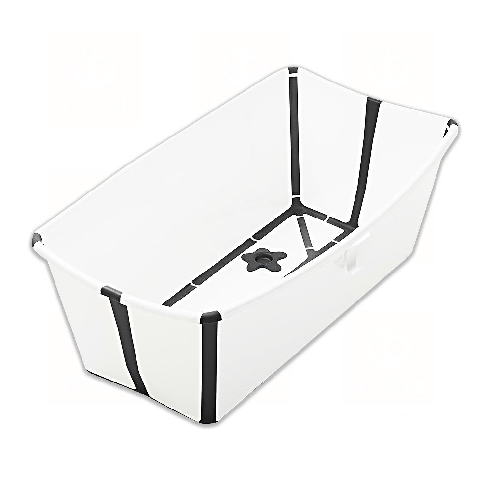 STOKKE Flexi Bath 折疊式浴盆(感溫水塞)-白色(黑色包邊)