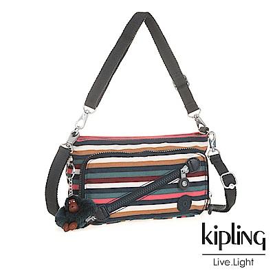 Kipling 斜背包 彩色拼接條紋-小