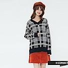 H:CONNECT 韓國品牌 女裝-彩格配色V領針織上衣-藍