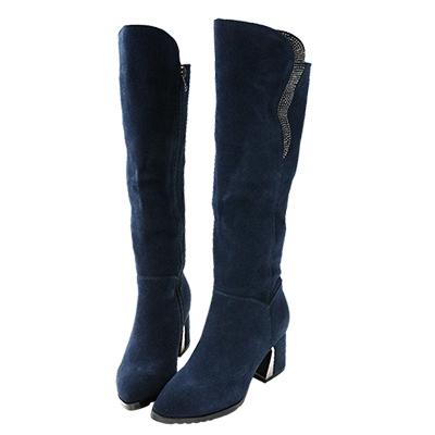 Robinlo 長腿顯瘦造型水鑽粗跟麂皮長靴 藍