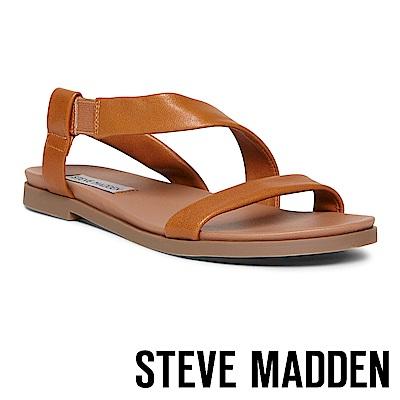 STEVE MADDEN DESSIE 寬版真羊皮透氣涼鞋-棕色