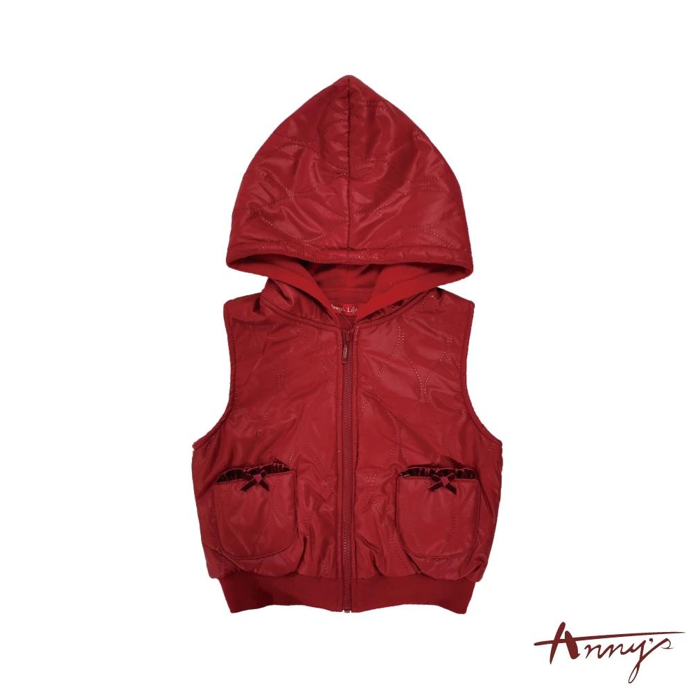 Annys安妮公主-蝴蝶結雙口袋內刷毛秋冬款連帽拉鍊背心*7420紅色