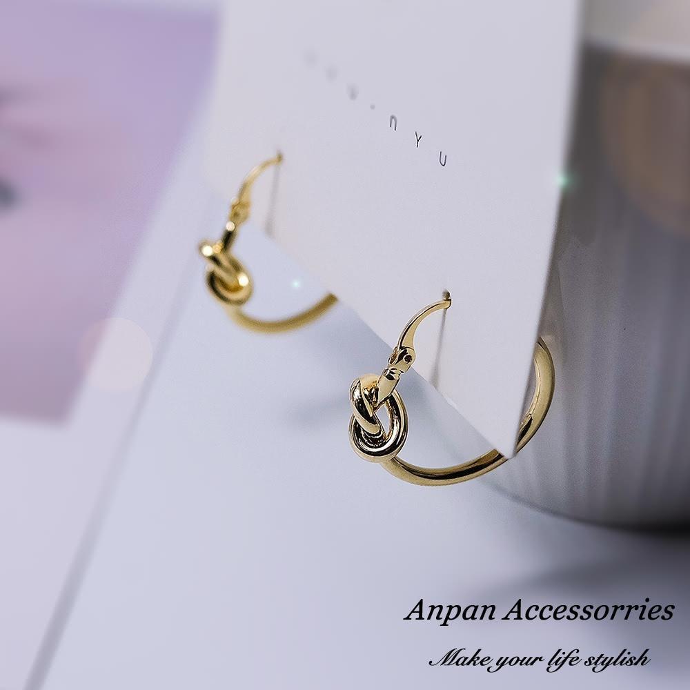 【Anpan 愛扮】韓東大門簡約金色圓滿情人結925銀針耳釘式耳環