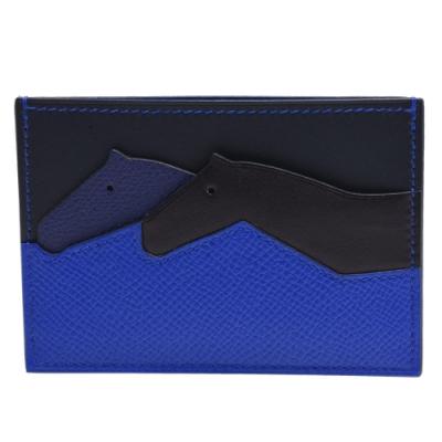 HERMES 經典Les Petits系列EPSOM牛皮小馬造型拼色卡片夾(藍X黑)