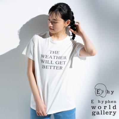 E hyphen 標語打印圓領短袖T恤
