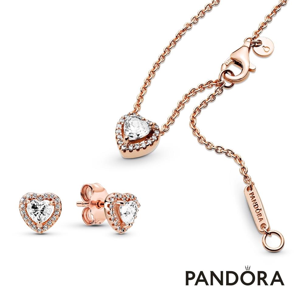 【Pandora官方直營】璀璨之心套組-耳環+項鏈