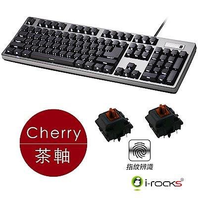i-Rocks K68MSF 指紋辨識機械式鍵盤-德國Cherry MX茶軸