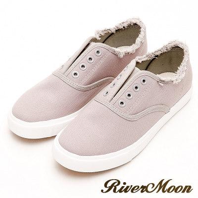 River&Moon韓系抽鬚無鞋帶懶人帆布鞋-灰