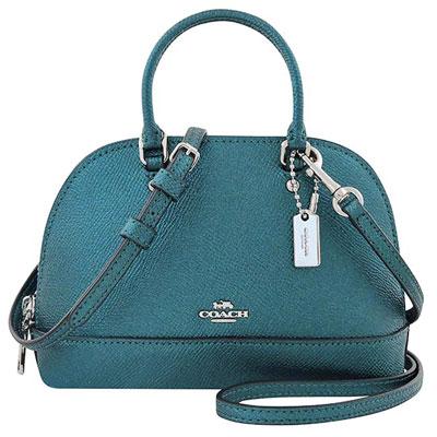 COACH 土耳其藍色光澤皮革小型波士頓包