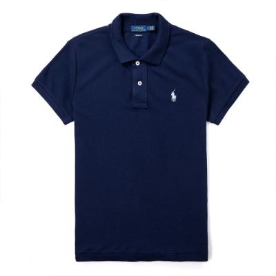 Polo Ralph Lauren 年度熱銷刺繡小馬短袖POLO衫(SKINNY FIT)(女)-深藍色