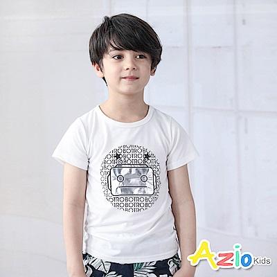 Azio Kids 上衣 亮面機器人字母星星短袖上衣(白)