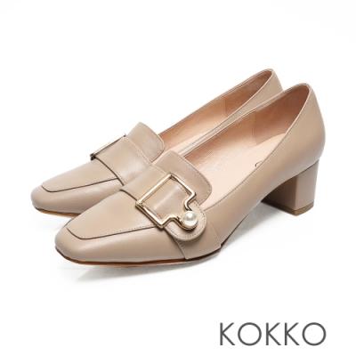 KOKKO - 秋日旋律珍珠扣方頭粗跟樂福鞋-奶茶灰