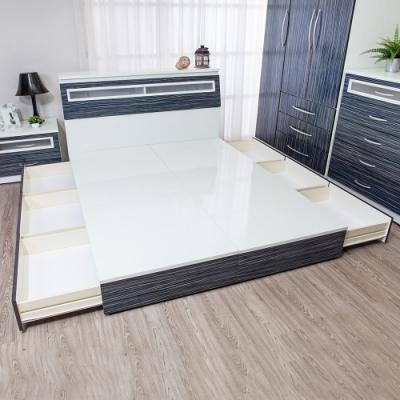 Birdie南亞塑鋼-5尺雙人六抽屜收納塑鋼床底(不含床頭箱)(鐵刀木色)