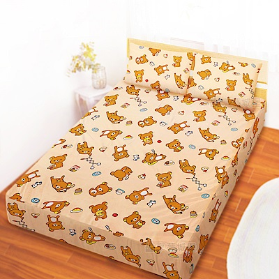 享夢城堡 雙人加大床包枕套6x6.2三件組-拉拉熊Rilakkuma 吃點心-米黃