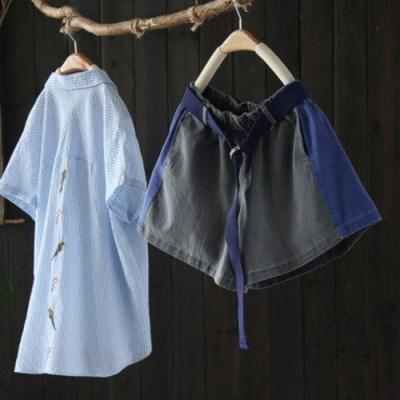 時髦拼色寬鬆純棉牛仔短褲熱褲微喇寬管褲-設計所在