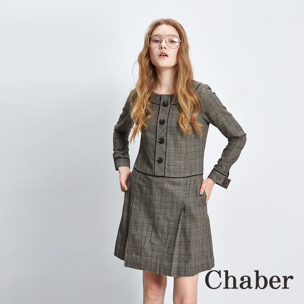 Chaber巧帛 千鳥格紋印花羊毛長袖洋裝