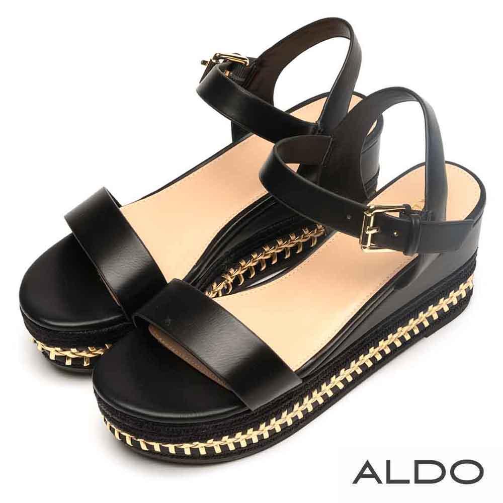 ALDO 原色一字異材質麻花編織楔型跟涼鞋~尊爵黑色