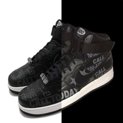 Nike 休閒鞋 Air Force 1 07 PRM 男鞋 反光 魔鬼氈 Toll Free 塗鴉 黑 灰 CU1414001
